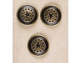 Metal Star Shank Buttons - American - Western - SCA Heraldry