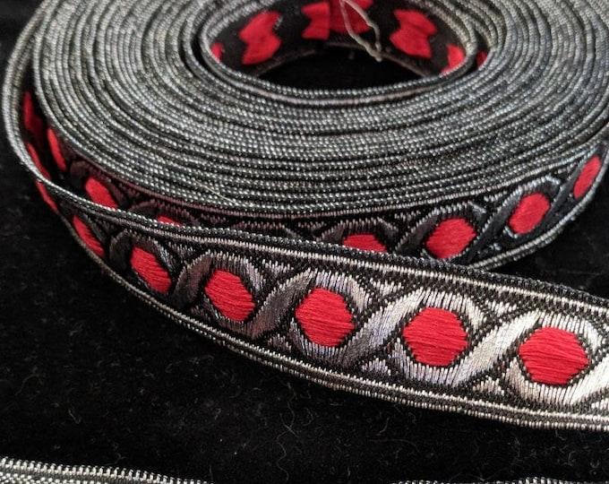 2 Yards Celtic Knotwork - Black Red Silver Hex Trim - Renaissance