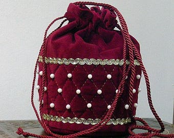In Stock! Burgundy Velveteen Quilted Shoulder Purse with Pearls - Renaissance