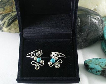 Turquoise & Sterling Silver Cuffs - One Bead