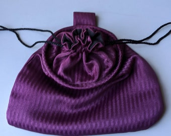 In Stock! Purple Stripe Stain Damask Drawstring Belt Pouch - Game Bag Renaissance