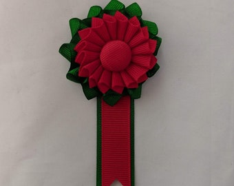 Small Double Pleated Italian Pride Cockade for Hats or Clothing