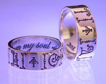 Vintage Russian Soul - Sterling Silver Poesy Ring - 19th c Cyrillic Letters