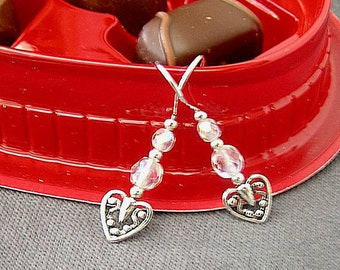 Ornate Metal Hearts with Crystals -   Mother's Day Earrings