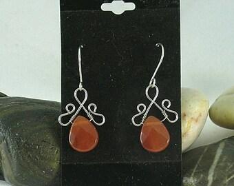 Carnelian Teardrop Renaissance Earrings - Wire Wrapped Briolettes