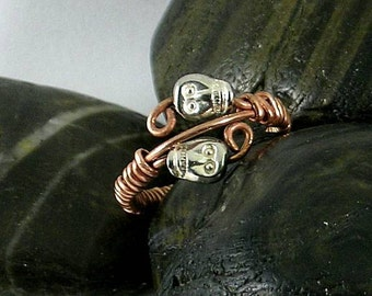 Pewter Skulls on Copper Wire Wrapped  Mori Ring