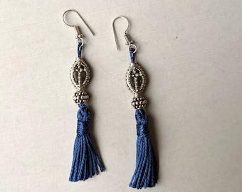 Silver Cross Beads with Blue Tassels Earrings