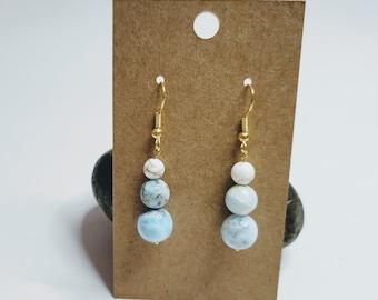 Larimar and Magnesite Earrings - Gemstone Earrings - Larimar Earrings - Crystal Healing