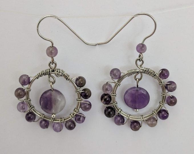 Amethyst Hoop Earrings - Wire Wrapped Pendant - February Birth Stone