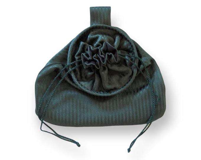 In Stock! Green Stripe Stain Damask Drawstring Belt Pouch - Game Bag Renaissance