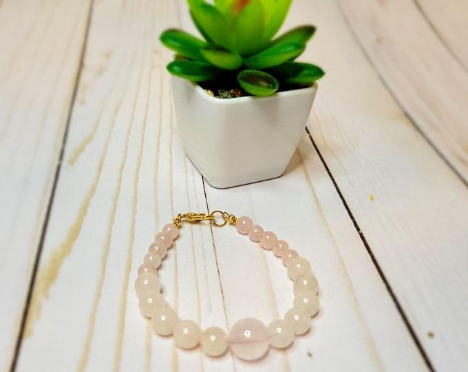 Rose Quartz Beaded Bracelet - Healing Bracelet - True Love Bracelet - Stone Bracelet