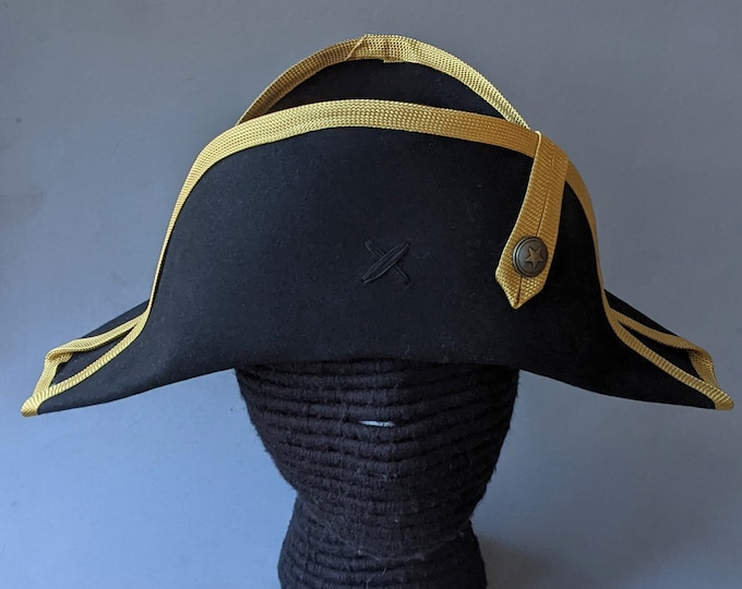 Bicorne with Gold Edging - American Cocked Hat - War of 1812 - Napoleon
