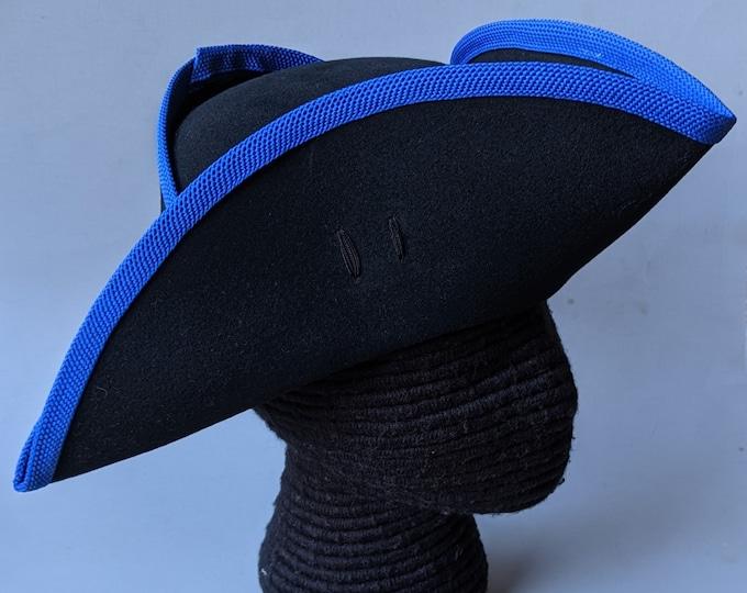 Yorktown Military Tricorn - Blue Edging - American Revolutionary Felt Hat