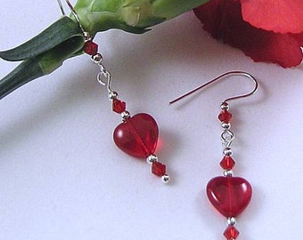 Red Glass Dangle Earrings w/ Crystals