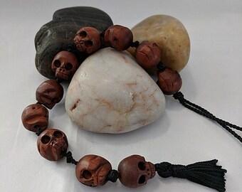 All Wooden Skulls! Paternoster Prayer Beads - Memento Mori