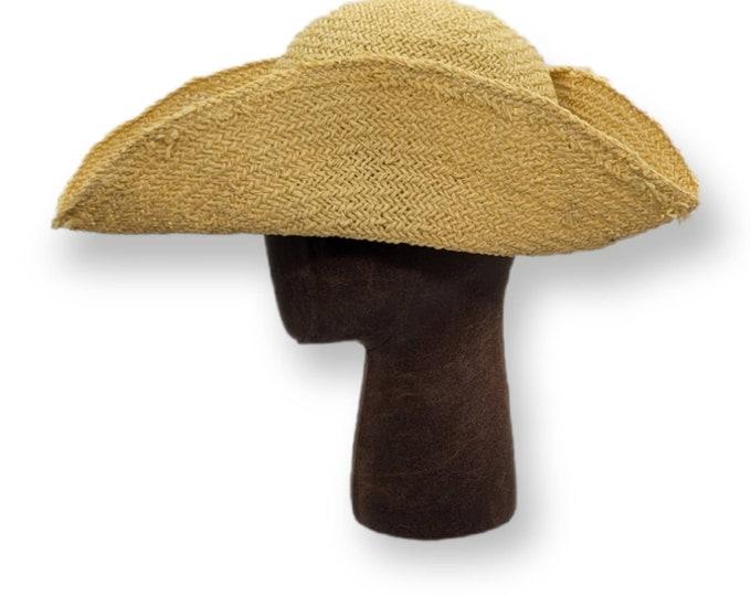 Straw Tricorn - - Paupers Tricorn - Farmer Tricorn - Cocked Felt Hat - Colonial Tricorne - Revolutionary