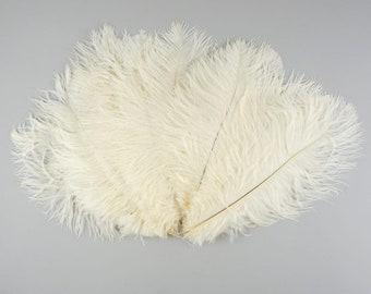 """Ivory Off White Medium Ostrich Drab Feather - Dyed Plume - 9-12"""""""