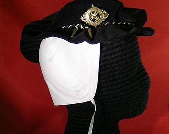 Tudor - Elizabethan Velveteen Flat Cap with Cord Hatband & Pegasus Pin