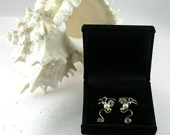 Freshwater Pearls on  Bronze Ear Cuffs