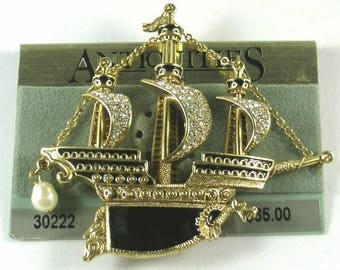 Red or Black Enameled Ship Brooch - Elizabethan Renaissance Victorian