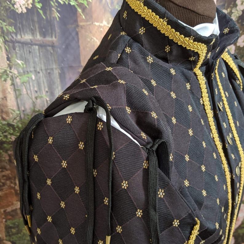 SCA Rapier Armor Black Weston Brocade Fencing Doublet and Sleeves