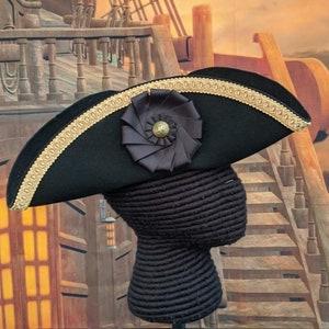 Military Tricorne Field Officer/'s Tricorn Colonial Black Trim Hat