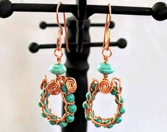Aztec Egyptian Native American Turquoise Spiral Wire Hoop Earrings