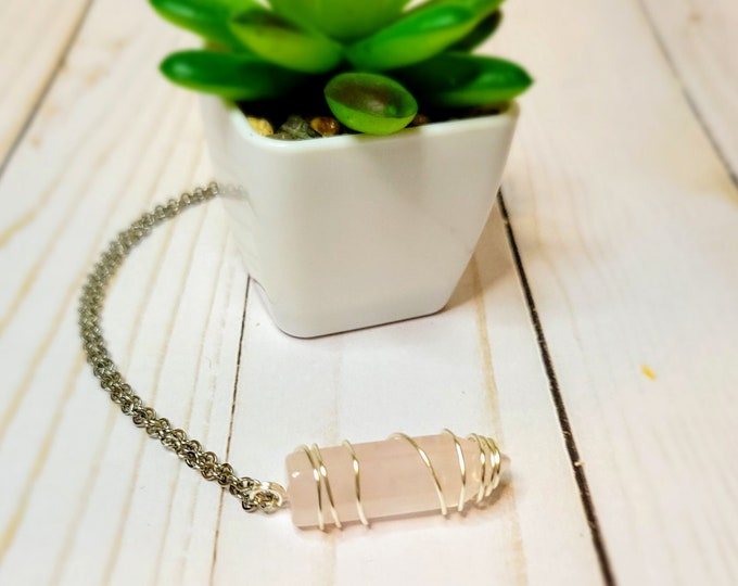 Wire Wrapped Rose Quartz Point - Wrapped Crystal Point Necklace - Healing Crystal Point Necklace