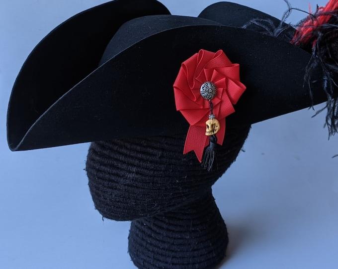 Pirate Tricorn - Skull Cockade Pin - Feathers - Bandana - Felt Hat