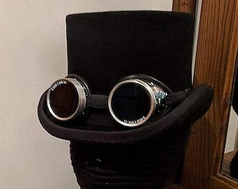Formal Top Hat w/ Goggles - 19th C - Wedding - Opera Steampunk Topper