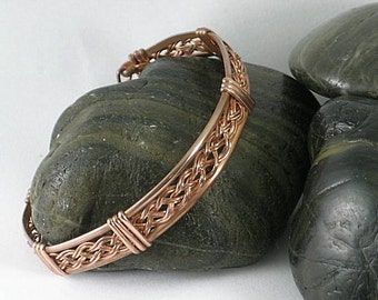 Wire Wrapped Copper Basket Weave Bracelet Cuff