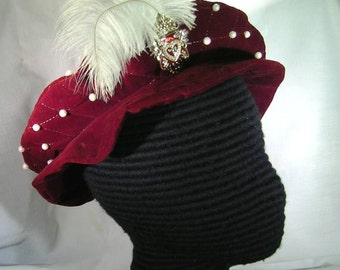 Elizabethan Quilted Velveteen Flat Cap with Pearls and Pin