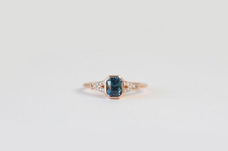 696cea9c7df5ab Radiant Teal Montana Sapphire Art Deco Engagement Ring Bezel   Etsy