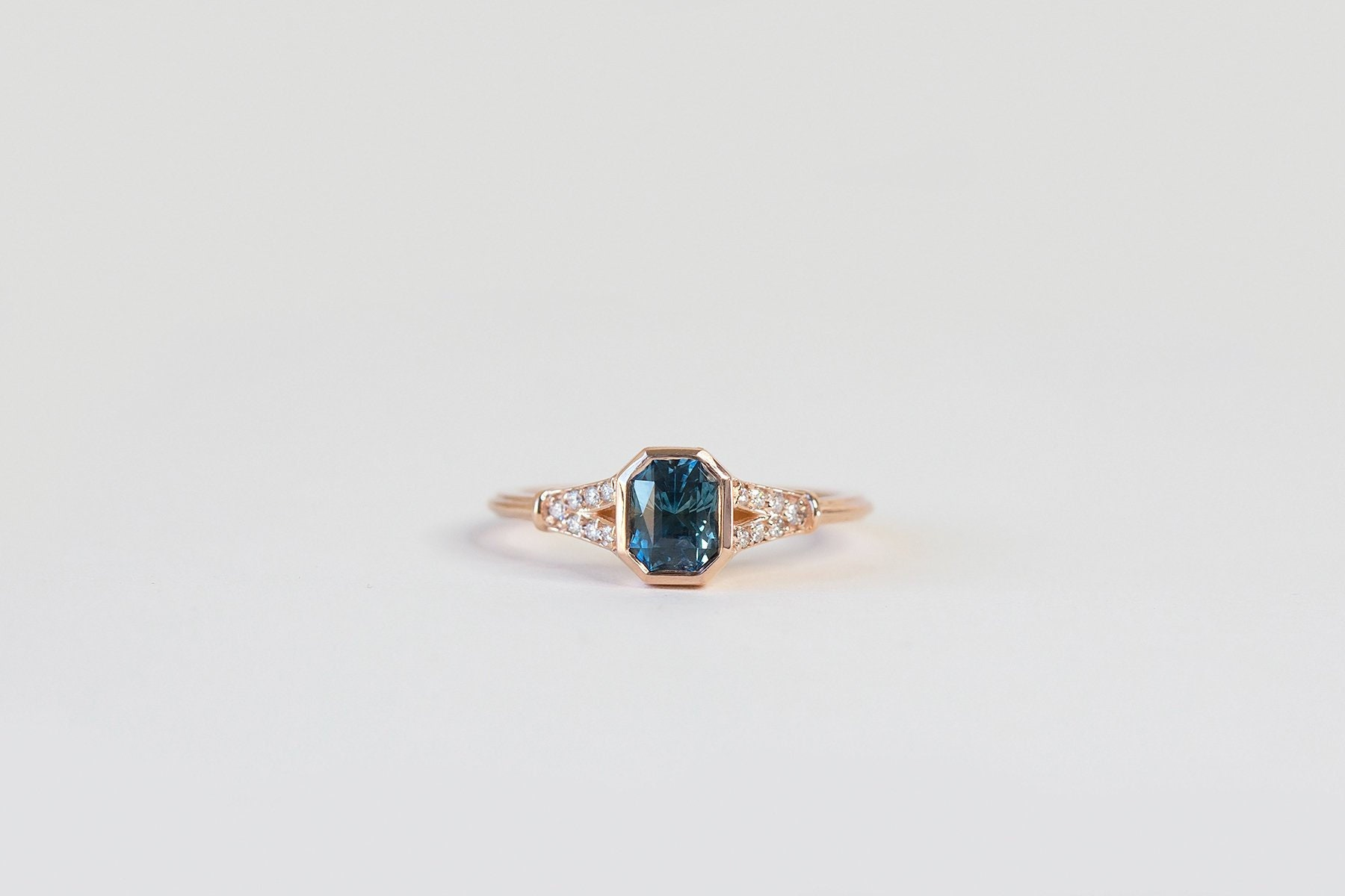 616d605ea Radiant Teal Montana Sapphire Art Deco Engagement Ring Bezel | Etsy