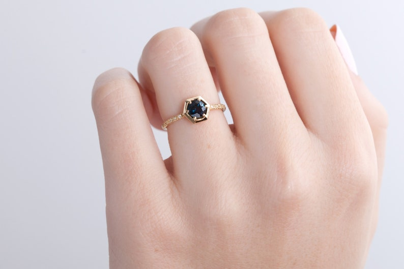 94ae6fb5526bc Blue Sapphire Engagement Ring | Hexagon | Pavé Band | 18k Recycled Yellow  Gold Minimal Modern Band | Blue Sapphire