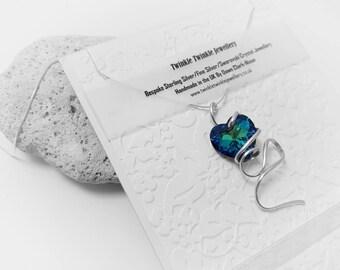 Stunning Bespoke Sterling Silver & Swarovski Crystal Bermuda Blue Heart Necklace
