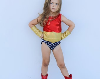 Wonder Woman leotard- superhero leotard- amazon princess- red white and blue bodysuit- Stars and Stripes- baby toddler girls- dancewear  sc 1 st  Etsy & Wonder woman costume toddler | Etsy