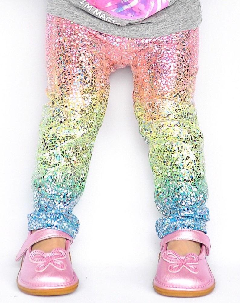 a4ac3604476f3 Unicorn leggings- baby girl leggings- toddler leggings- kids leggings-  metallic, sparkly holographic leggings- whimsical rainbow leggings