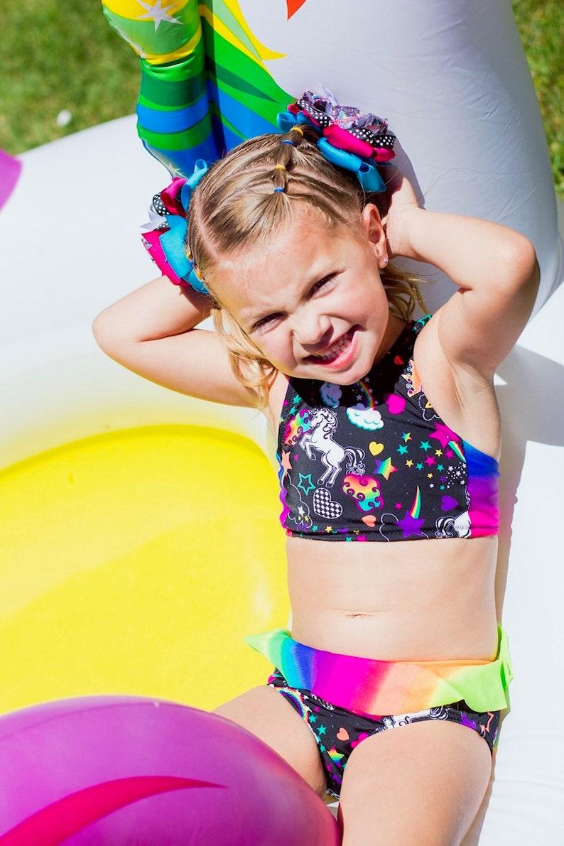ed5147d1fbc62 Retro Unicorn Rainbow two piece swimsuit racerback tankini | Etsy