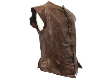 Distressed Brown Studded Italian Leather Jerkin