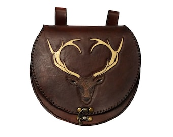 Stag Round Large Leather Belt Pouch Handbag Celtic Hand Made LARP Made to  Order 586bc84336