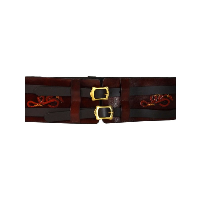LARP Dragon Motifs  Wide Leather Hero Double Belt Made to Order