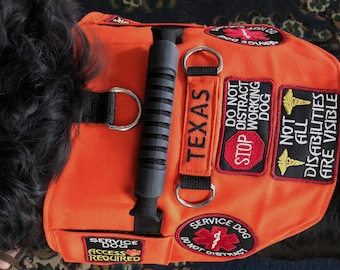 47269e7be2e1 Deluxe Canvas Service Dog Vest. Includes 7 Patches! Lined with Comfortable  3d padded fabric. 2 Pockets