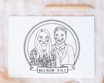 Custom colouring wedding portrait, wedding colouring page, personalised wedding, kids wedding activity, kids wedding favour, wedding favour