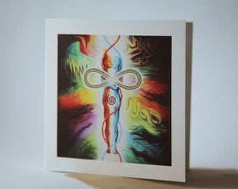 The inner Marriage Greetings Card 105mmx105mm, Envelope and cellophane wrapping, Recycled Card
