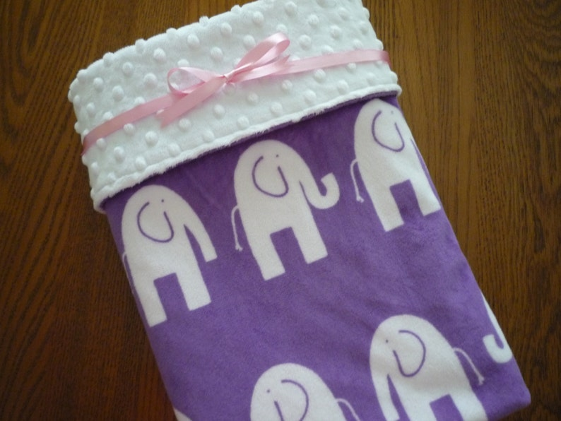 Minky Baby Blanket...baby girl blanket...white elephants on jewel background...backing is white dimple dot Minky...monogramming available