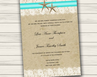 Beach Wedding Invitation Printable Etsy