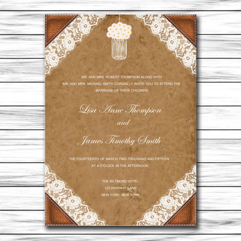 De invitación de boda para imprimir invitación plantilla | Etsy