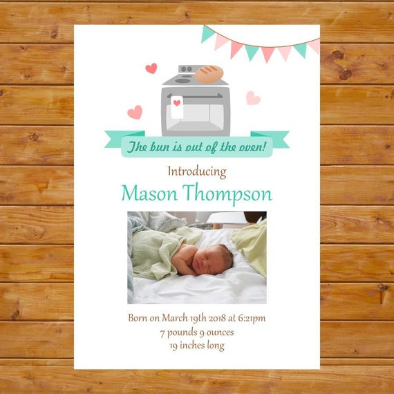 Bun in the Oven Announcement - Birth Announcement Card - Printable, Custom,  Digital File