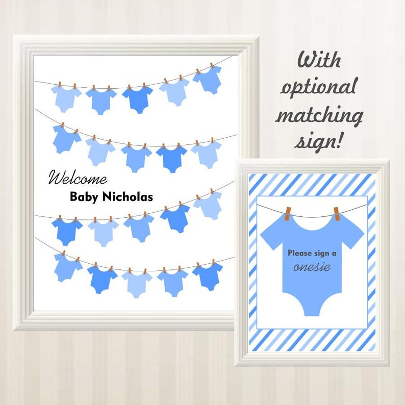image regarding Baby Shower Guest Book Printable identified as Onesie Clothesline Youngster Shower Visitor E book Selection - Boy Boy or girl Shower Visitor Ebook - Printable, Customized, Personalized, Electronic Document